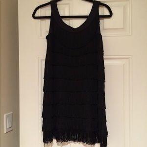 💃H&M Black Sleeveless Fringe Mini Dress Size S💃